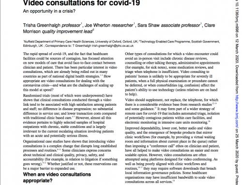 Covid-19 e l'affermazione di modelli di assistenza sanitaria che usano tecnologie digitali