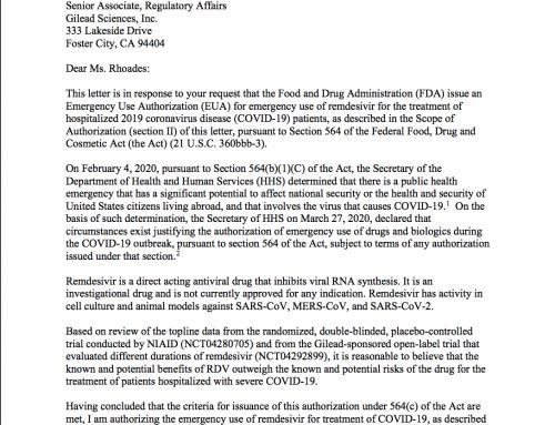 Remdesivir autorizzato da FDA