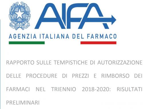 RAPPORTO SULLE TEMPISTICHE DI AUTORIZZAZIONE DELLE PROCEDURE DI PREZZI E RIMBORSO DEI FARMACI NEL TRIENNIO 2018-2020: RISULTATI PRELIMINARI