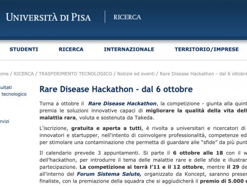 #RAREHACK, il primo Hackathon per migliorare la vita nelle malattie rare : Appello delle Università – Pisa